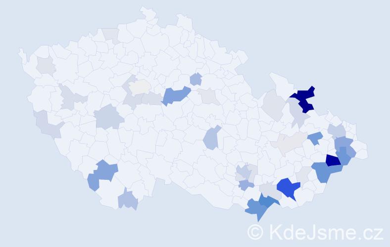Příjmení: 'Křiva', počet výskytů 136 v celé ČR