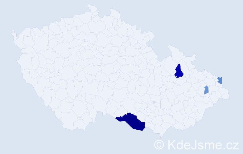 Příjmení: 'Halaczová', počet výskytů 9 v celé ČR