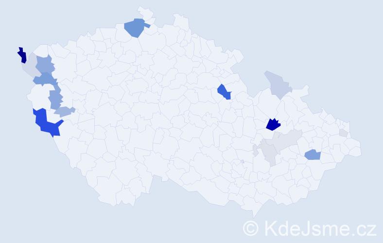 Příjmení: 'Hammerlová', počet výskytů 45 v celé ČR