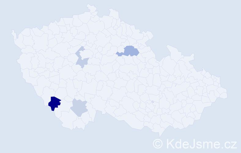 Příjmení: 'Karabiňoš', počet výskytů 6 v celé ČR