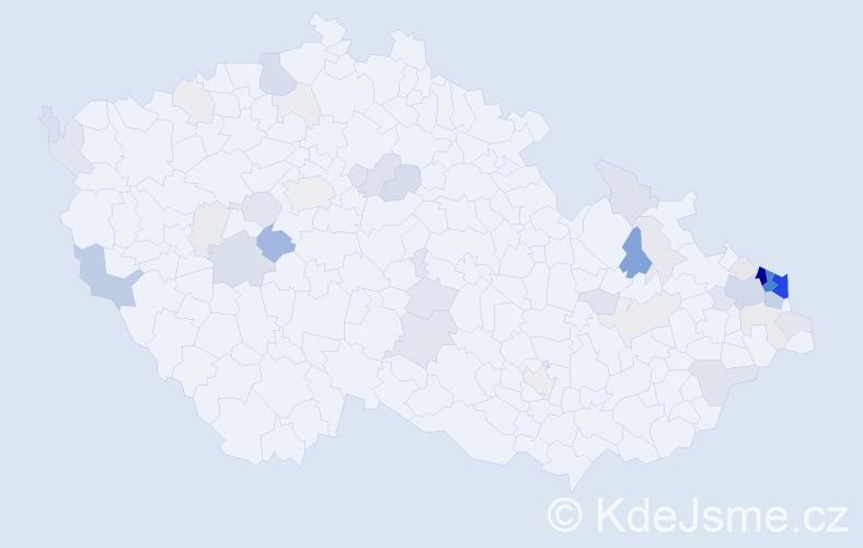 Příjmení: 'Hanusková', počet výskytů 209 v celé ČR