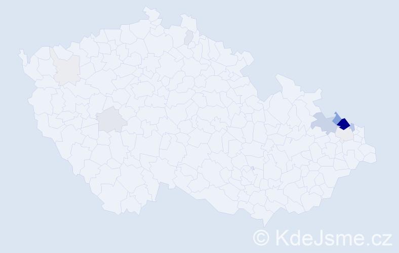 Příjmení: 'Fichnová', počet výskytů 72 v celé ČR