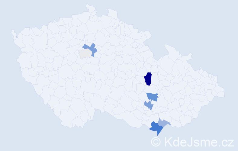 Příjmení: 'Krabička', počet výskytů 18 v celé ČR