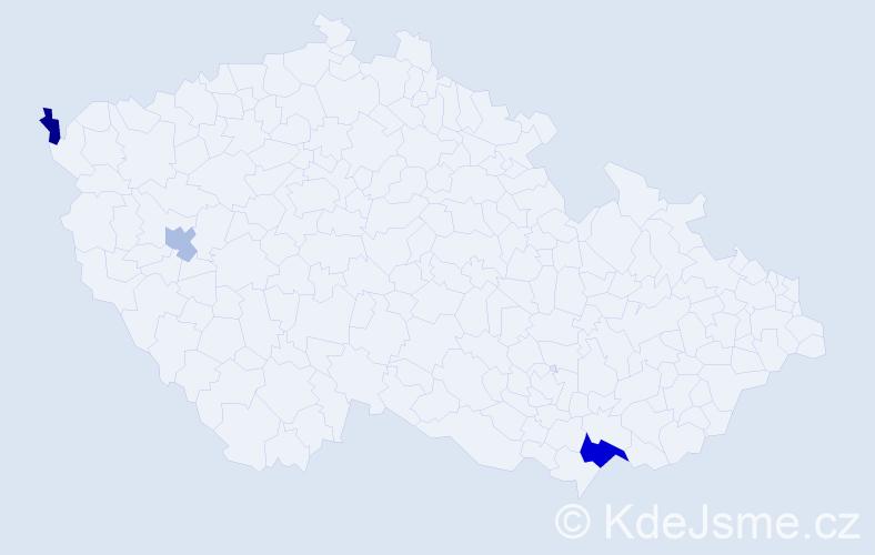 Příjmení: 'Lábadi', počet výskytů 5 v celé ČR