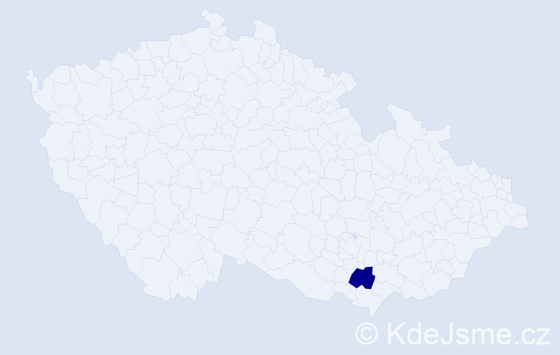 """Příjmení: '""""Kanevová Staňková""""', počet výskytů 1 v celé ČR"""