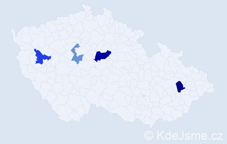 Příjmení: 'Hamannová', počet výskytů 5 v celé ČR