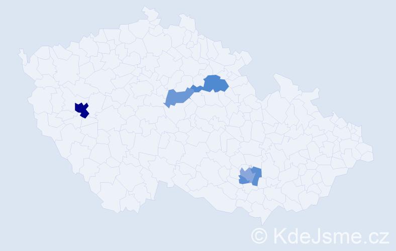 Příjmení: 'Esterlová', počet výskytů 11 v celé ČR