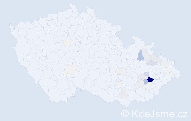Příjmení: 'Krajcar', počet výskytů 98 v celé ČR