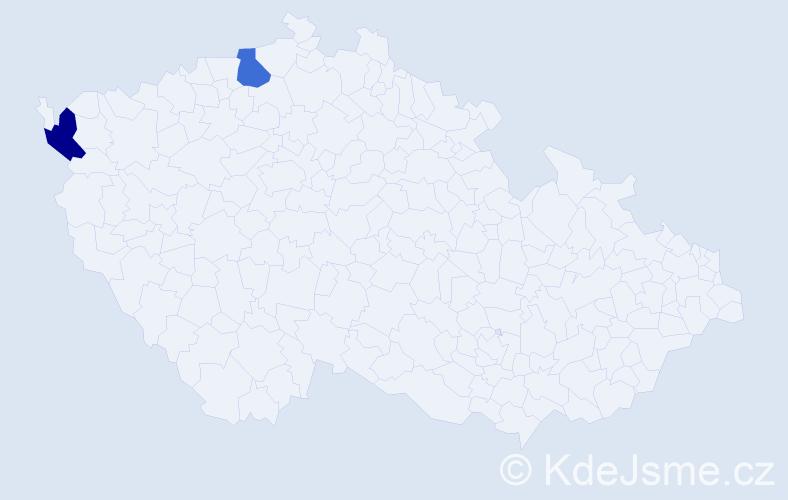 Příjmení: 'Kahapková', počet výskytů 2 v celé ČR
