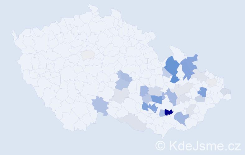 Příjmení: 'Bedáňová', počet výskytů 81 v celé ČR