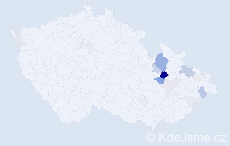 Příjmení: 'Kaller', počet výskytů 52 v celé ČR