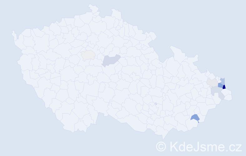 Příjmení: 'Hrabiec', počet výskytů 17 v celé ČR