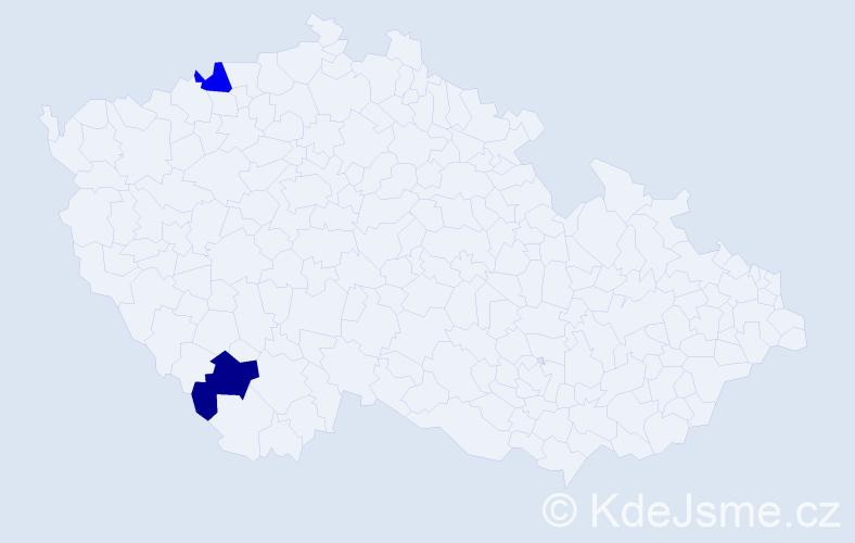 Příjmení: 'Ihnatko', počet výskytů 2 v celé ČR