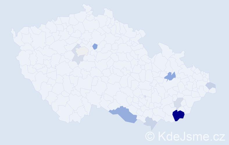 Příjmení: 'Babulová', počet výskytů 21 v celé ČR