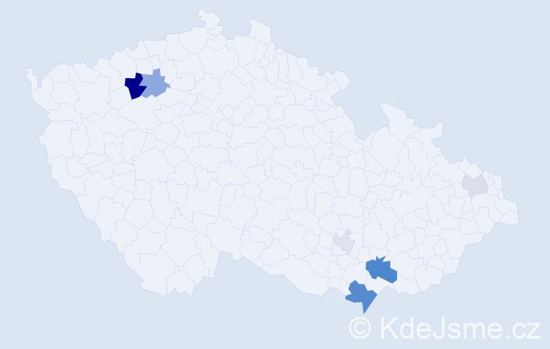 Příjmení: 'Hýpal', počet výskytů 12 v celé ČR