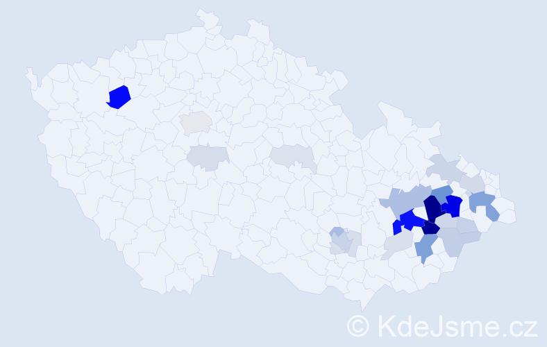 Příjmení: 'Cagašová', počet výskytů 98 v celé ČR
