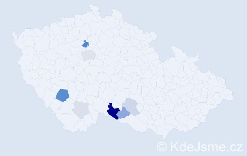 Příjmení: 'Klivan', počet výskytů 19 v celé ČR