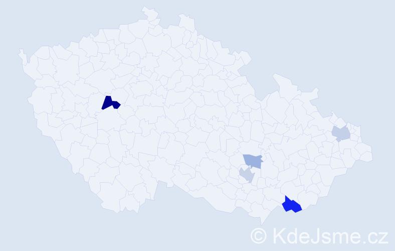 Příjmení: 'Iláš', počet výskytů 11 v celé ČR
