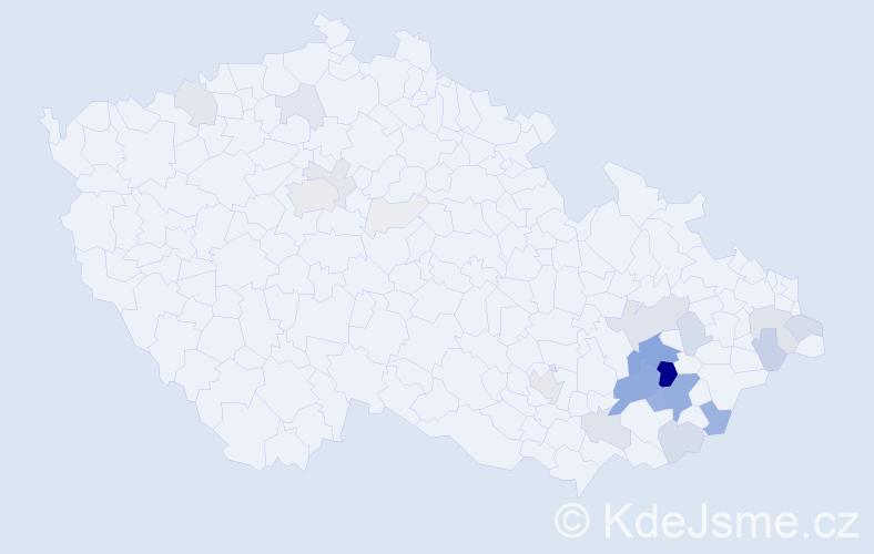 Příjmení: 'Kojecká', počet výskytů 116 v celé ČR