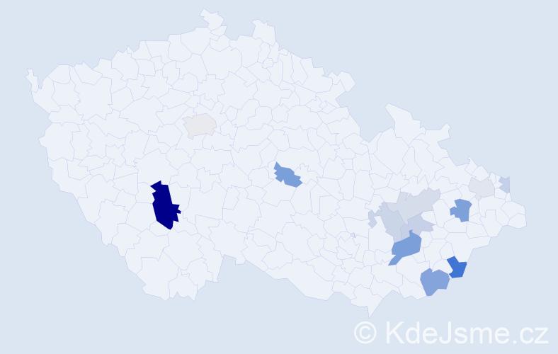 Příjmení: 'Baček', počet výskytů 25 v celé ČR