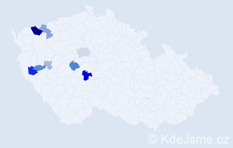 Příjmení: 'Herzerová', počet výskytů 14 v celé ČR