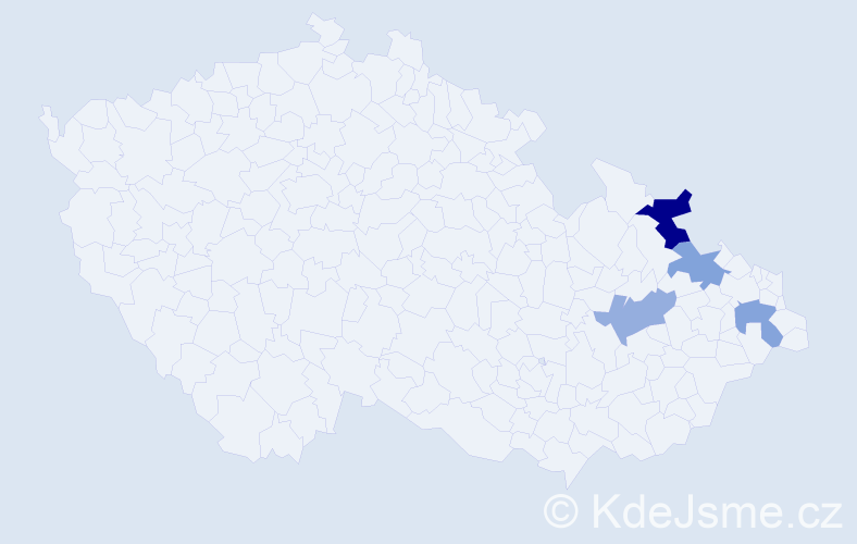 Příjmení: 'Ignas', počet výskytů 5 v celé ČR