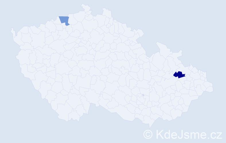 Příjmení: 'Kepša', počet výskytů 3 v celé ČR