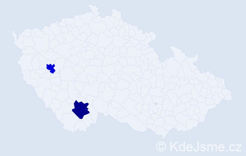 Příjmení: 'Kvantová', počet výskytů 4 v celé ČR