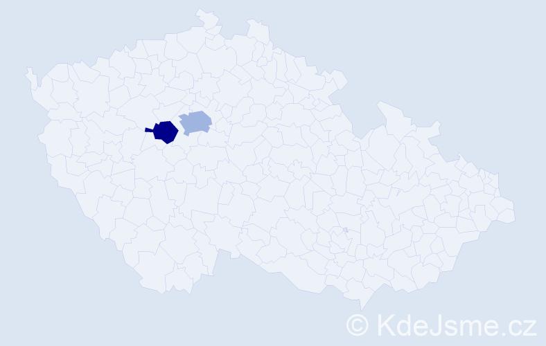 Příjmení: 'Čaplán', počet výskytů 3 v celé ČR