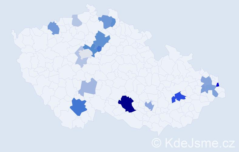 Příjmení: 'Čierny', počet výskytů 47 v celé ČR
