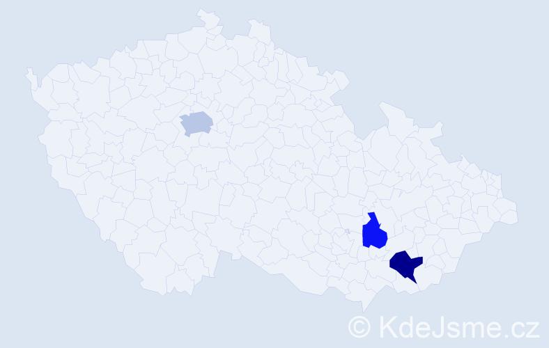 Příjmení: 'Haládiková', počet výskytů 5 v celé ČR