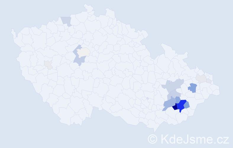 Příjmení: 'Gazdošová', počet výskytů 75 v celé ČR