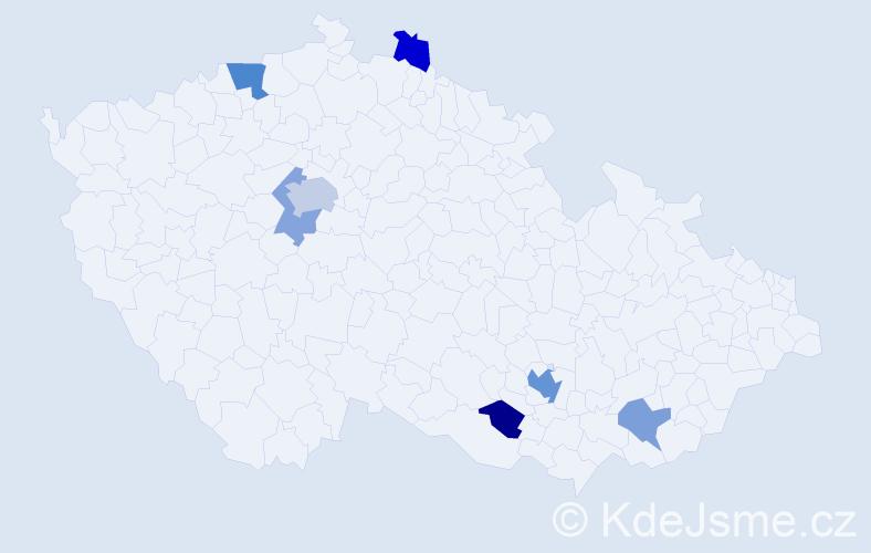 Příjmení: 'Gerlach', počet výskytů 13 v celé ČR