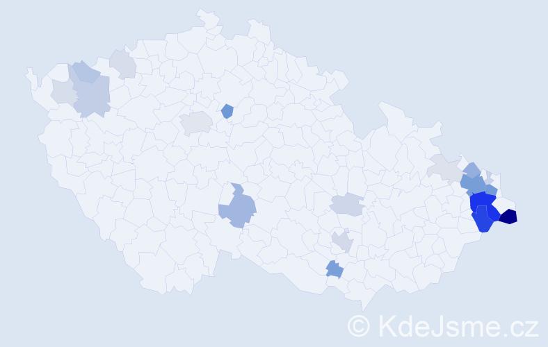 Příjmení: 'Kačmaříková', počet výskytů 74 v celé ČR