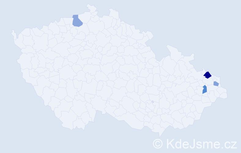 Příjmení: 'Iľašová', počet výskytů 5 v celé ČR