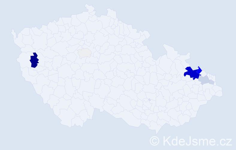 Příjmení: 'Hochgesandt', počet výskytů 24 v celé ČR