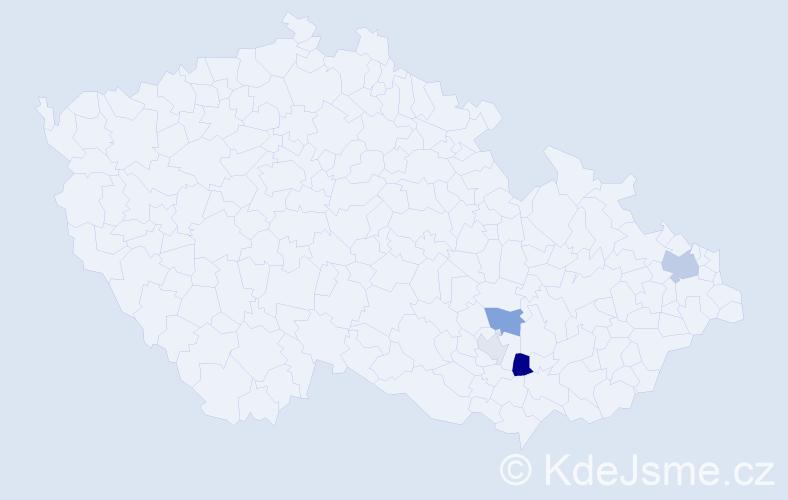 Příjmení: 'Kleková', počet výskytů 9 v celé ČR