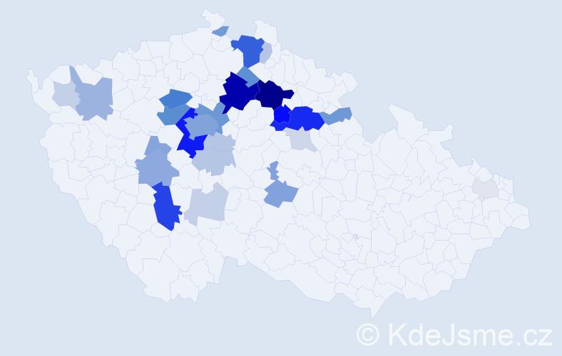 Příjmení: 'Kverková', počet výskytů 111 v celé ČR