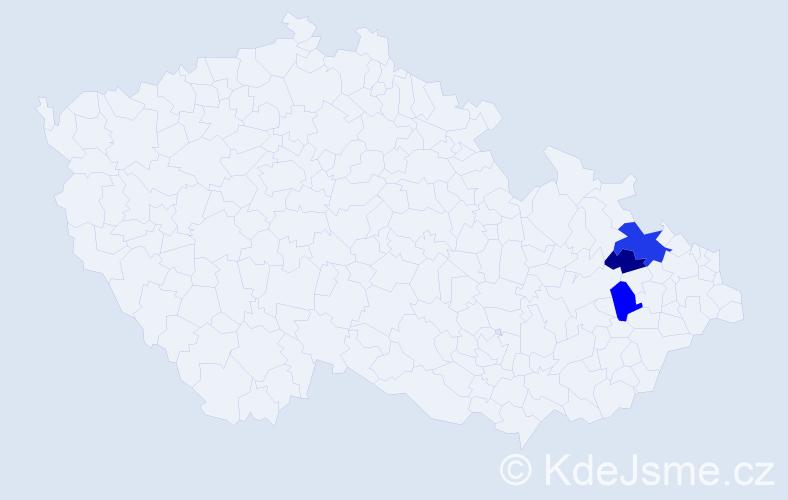 Příjmení: 'Ďalovský', počet výskytů 7 v celé ČR