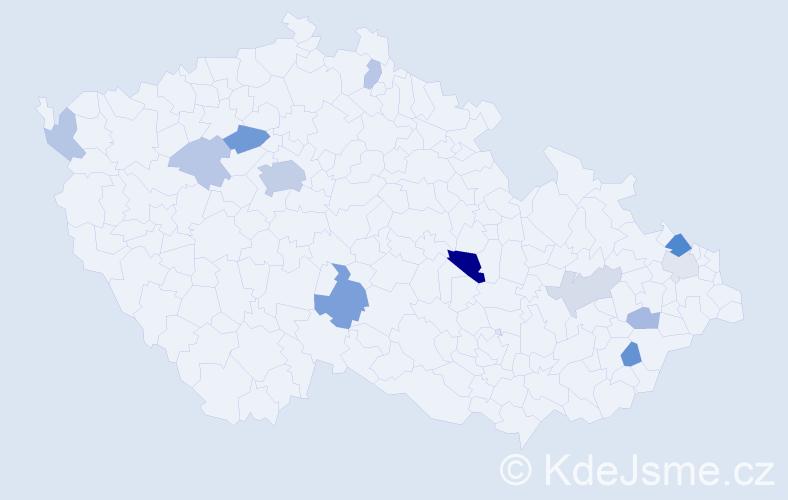Příjmení: 'Klouzalová', počet výskytů 27 v celé ČR