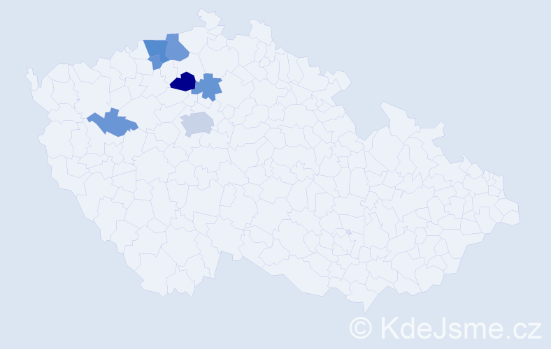 Příjmení: 'Hajšl', počet výskytů 24 v celé ČR