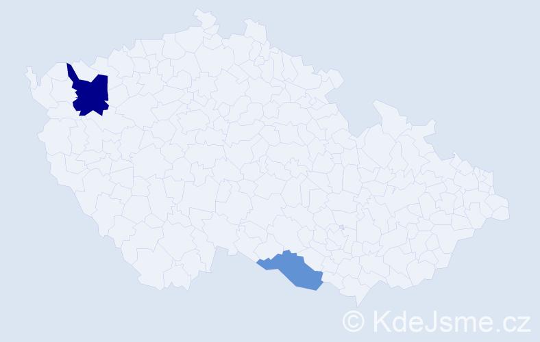 Příjmení: 'Čirik', počet výskytů 7 v celé ČR