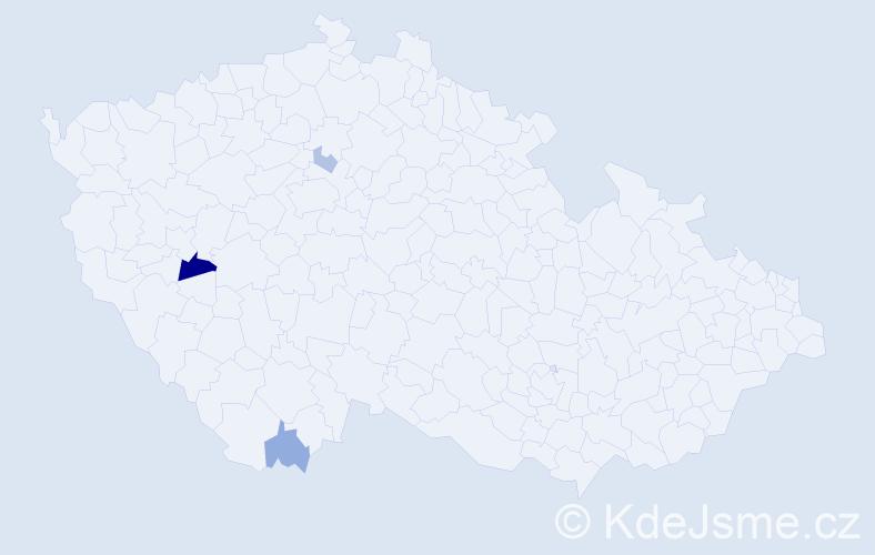 Příjmení: 'Hänig', počet výskytů 5 v celé ČR