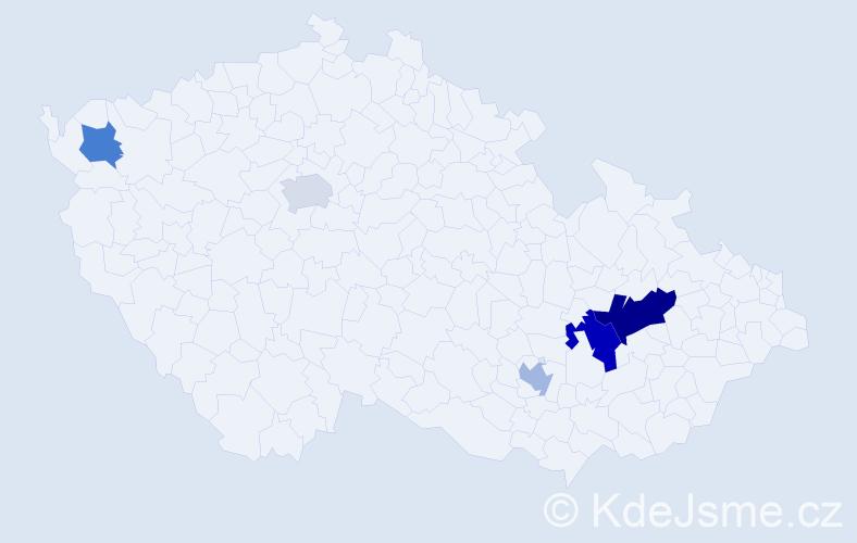 Příjmení: 'Dalloš', počet výskytů 8 v celé ČR