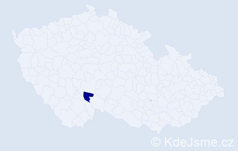 """Příjmení: '""""El Karibová""""', počet výskytů 1 v celé ČR"""