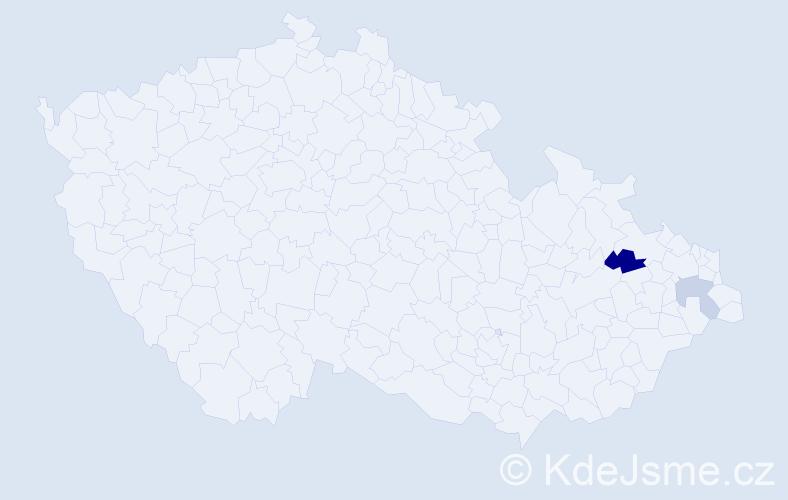 Příjmení: 'Gombkőtőová', počet výskytů 3 v celé ČR
