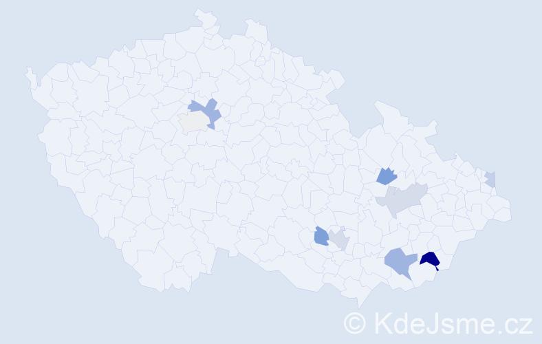 Příjmení: 'Gorecký', počet výskytů 14 v celé ČR