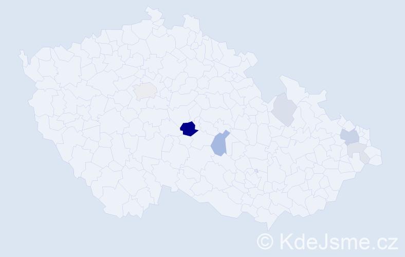 Příjmení: 'Fírek', počet výskytů 18 v celé ČR