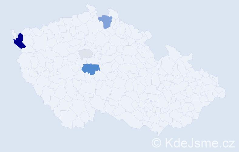 Příjmení: 'Čurčíková', počet výskytů 5 v celé ČR