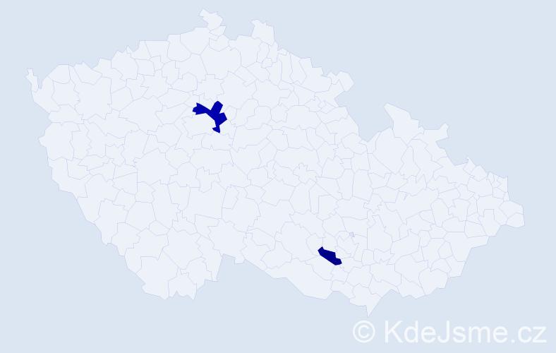 Příjmení: 'Chajmová', počet výskytů 4 v celé ČR